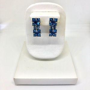 Aquamarine Rhinestone Screw Back Earrings